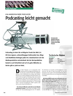 Recording Magazin USB-Mikrofon Rode Podcaster