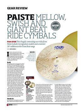 Paiste Mellow, Swish and Giant Beat Ride Cymbals