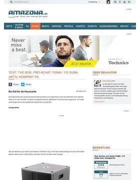 Test: the box, pro Achat 110MA / 112 SUBA Aktiv, Kompakt PA