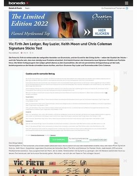Vic Firth Jen Ledger, Ray Luzier, Keith Moon und Chris Coleman Signature Sticks