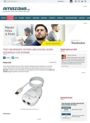 Amazona.de Test: Behringer, GUITAR LINK UCG102, Audio-Interface für Gitarre