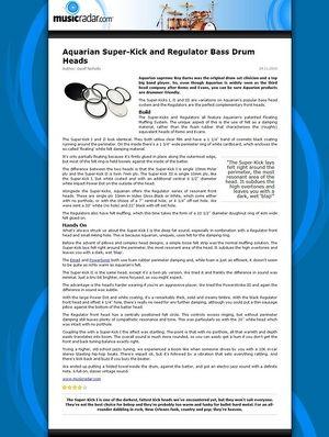 MusicRadar.com Aquarian Super-Kick and Regulator Bass Drum Heads