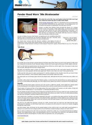 MusicRadar.com Fender Road Worn '50s Stratocaster