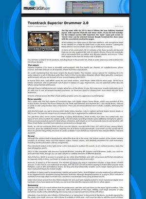 MusicRadar.com Toontrack Superior Drummer 2.0