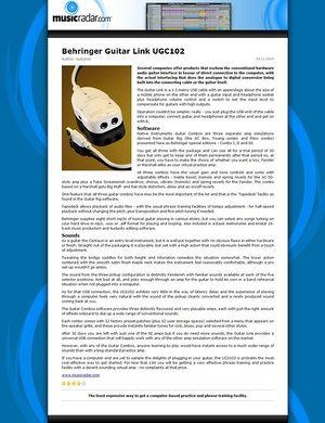 MusicRadar.com Behringer Guitar Link UGC102