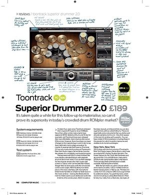 Computer Music Toontrack Superior Drummer 2.0