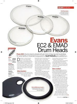 Rhythm Evans EC2 and EMAD Drum Heads
