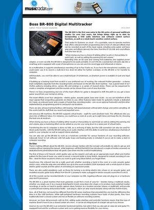 MusicRadar.com Boss BR-800 Digital Multitracker
