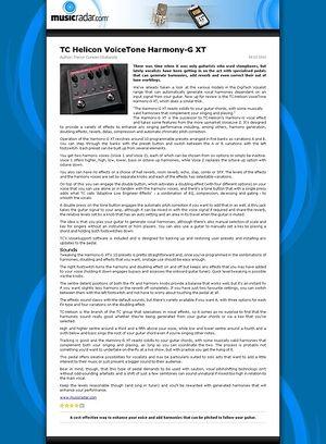 MusicRadar.com TC Helicon VoiceTone Harmony-G XT