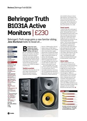 Future Music Behringer Truth B1031A Active Monitors