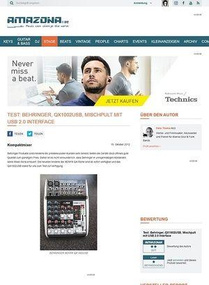 Amazona.de Test: Behringer, QX1002USB, Mischpult mit USB 2.0 Interface