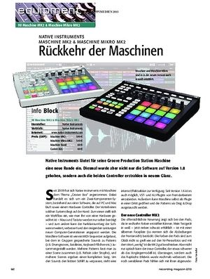Recording Magazin Native Instruments Maschine MK2 & Machine Mikro MK2