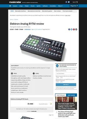 MusicRadar.com Elektron Analog RYTM