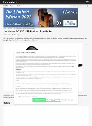 Bonedo.de the t.bone SC 450 USB Podcast Bundle
