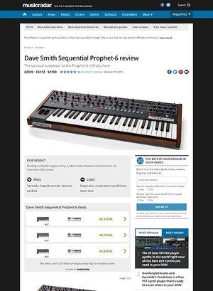 MusicRadar.com Dave Smith Sequential Prophet-6