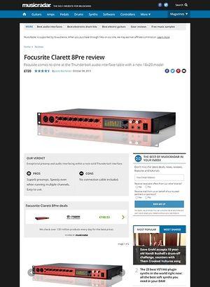 MusicRadar.com Focusrite Clarett 8Pre