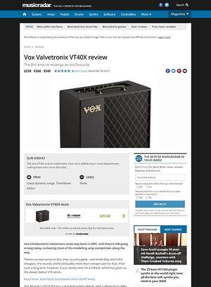MusicRadar.com Vox Valvetronix VT40X