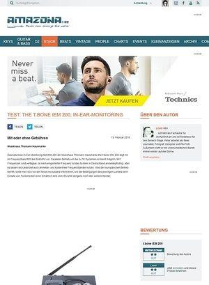 Amazona.de Test: the t.bone IEM 200, In-Ear-Monitoring