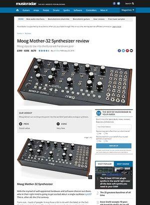 MusicRadar.com Moog Mother-32