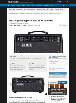 MusicRadar.com Mesa Engineering Mark Five 35 Head