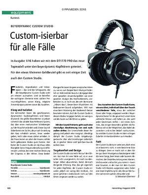 Recording Magazin Beyerdynamic Custom Studio