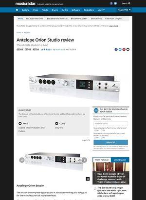 MusicRadar.com Antelope Orion Studio