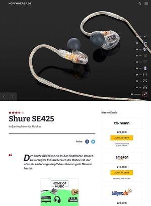 Kopfhoerer.de Shure SE425-CL