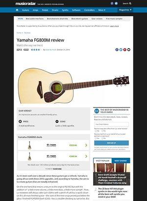 MusicRadar.com Yamaha FG800M